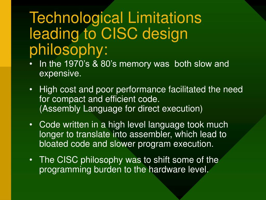 Technological Limitations leading to CISC design philosophy: