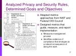 analyzed privacy and security rules determined goals and objectives