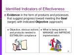 identified indicators of effectiveness