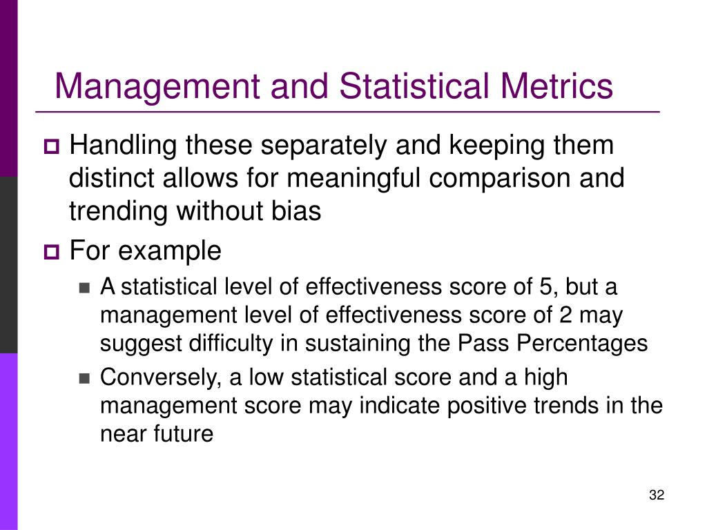 Management and Statistical Metrics
