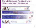 the mhs includes provider payor government and life sciences