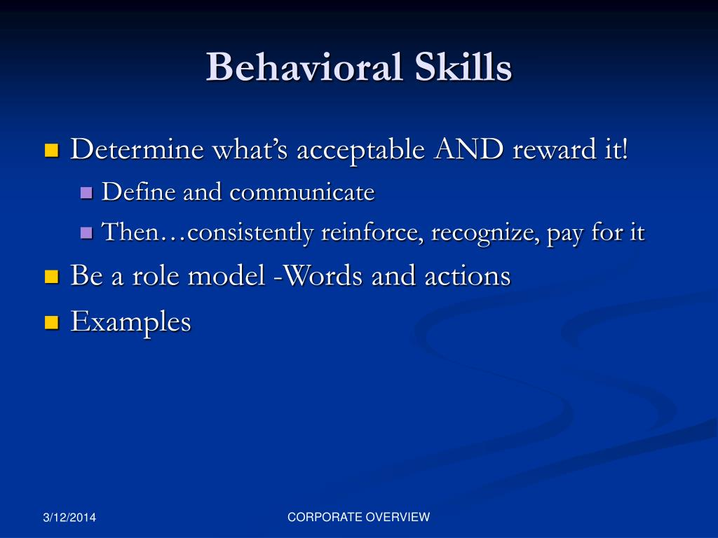Behavioral Skills