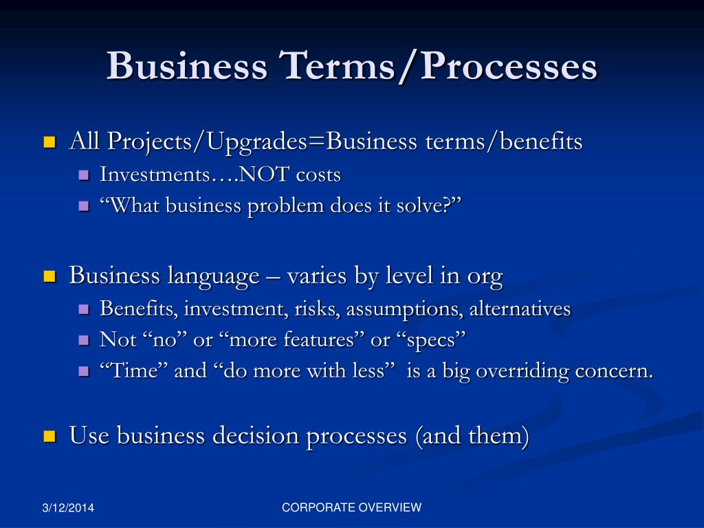 Business Terms/Processes