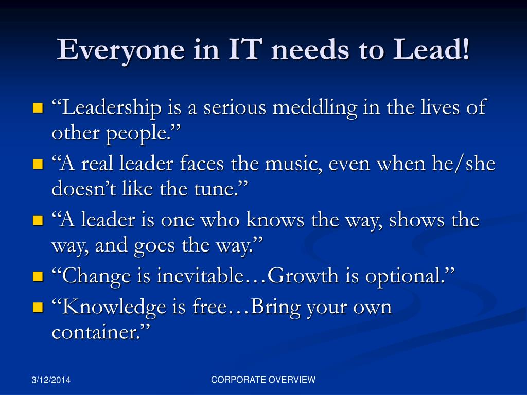 Everyone in IT needs to Lead!