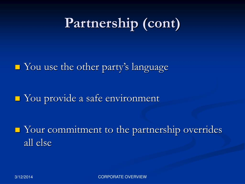 Partnership (cont)