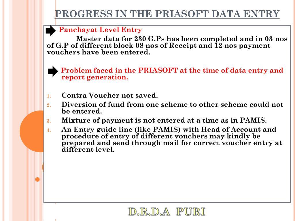 PROGRESS IN THE PRIASOFT DATA ENTRY