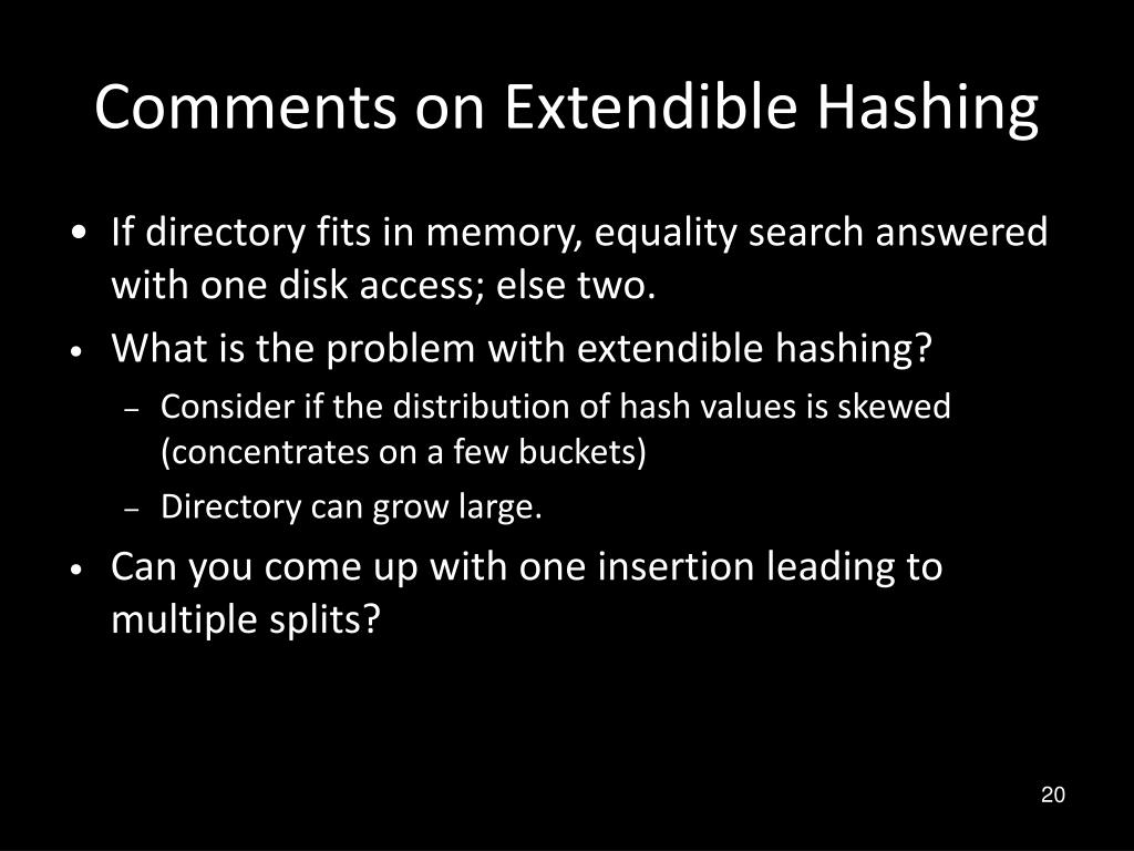 Comments on Extendible Hashing