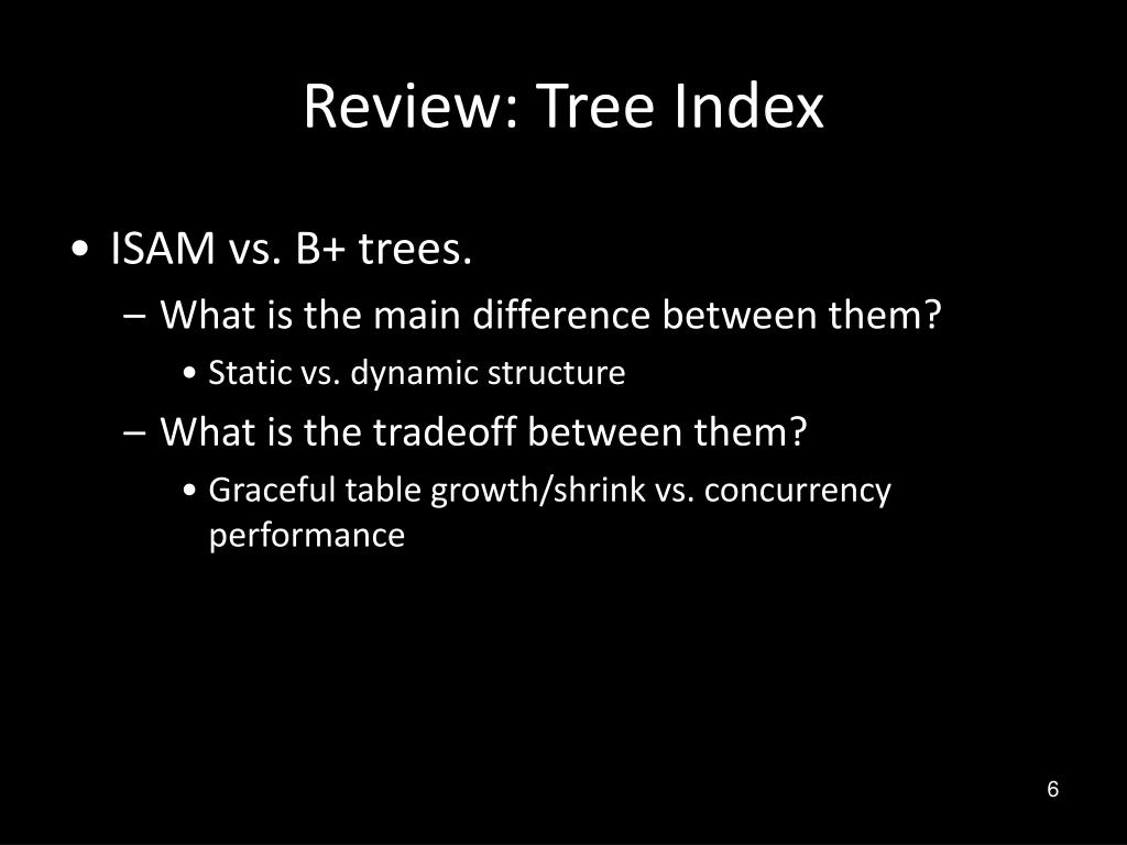 Review: Tree Index