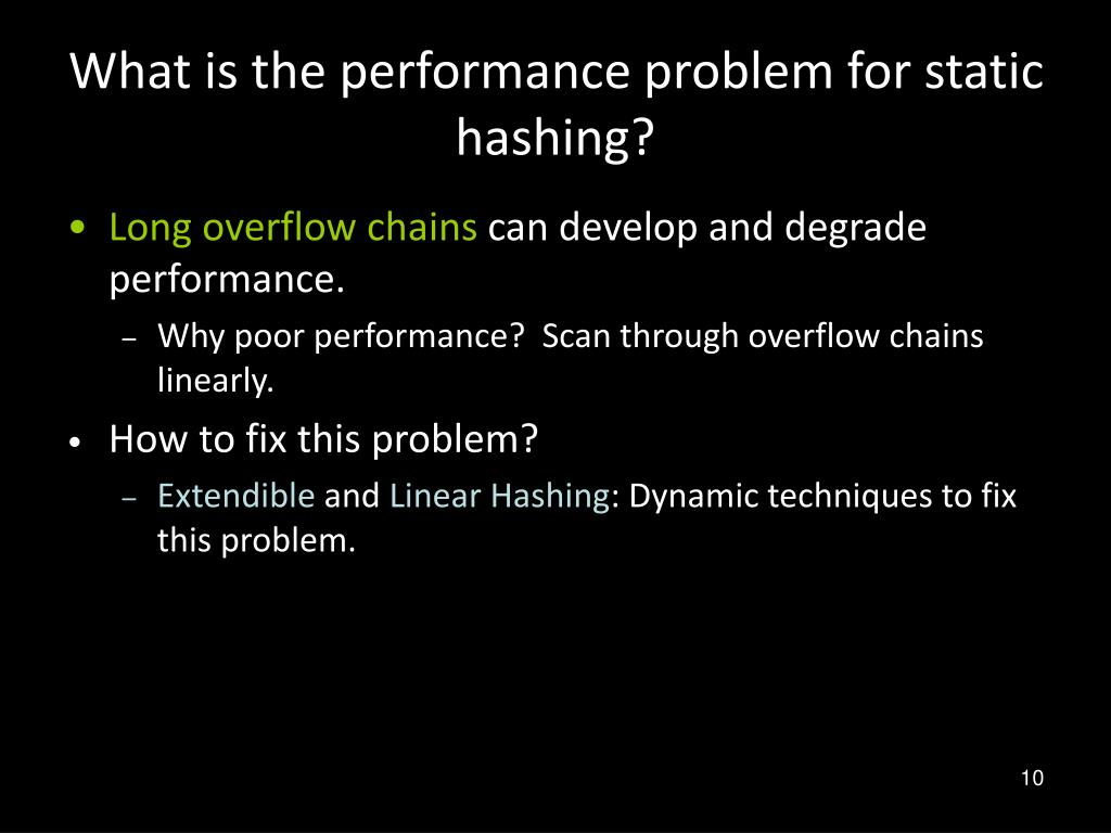 What is the performance problem for static hashing?