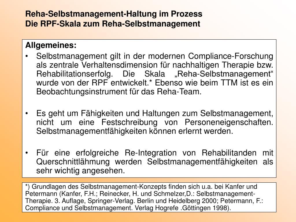 Reha-Selbstmanagement-Haltung im Prozess