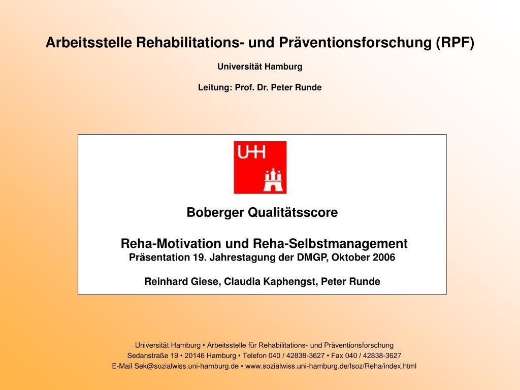 Arbeitsstelle Rehabilitations- und Präventionsforschung (RPF)