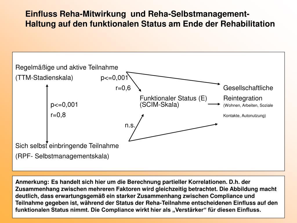 Einfluss Reha-Mitwirkung  und Reha-Selbstmanagement-Haltung auf den funktionalen Status am Ende der Rehabilitation