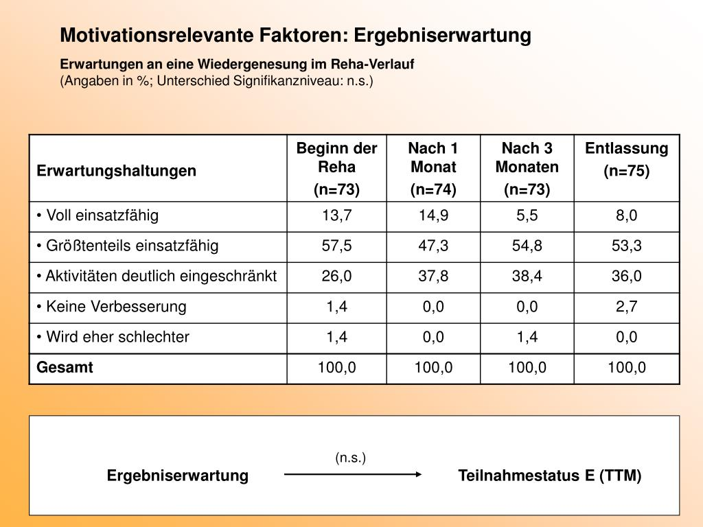 Motivationsrelevante Faktoren: Ergebniserwartung