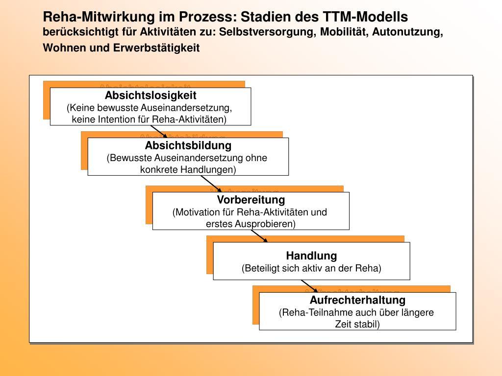 Reha-Mitwirkung im Prozess: Stadien des TTM-Modells