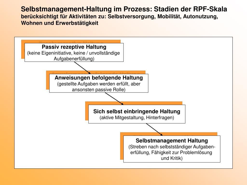Selbstmanagement-Haltung im Prozess: Stadien der RPF-Skala