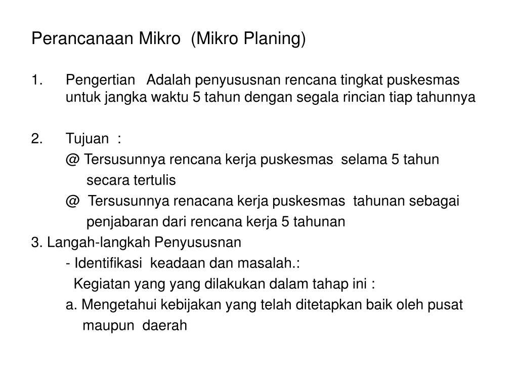 Perancanaan Mikro  (Mikro Planing)