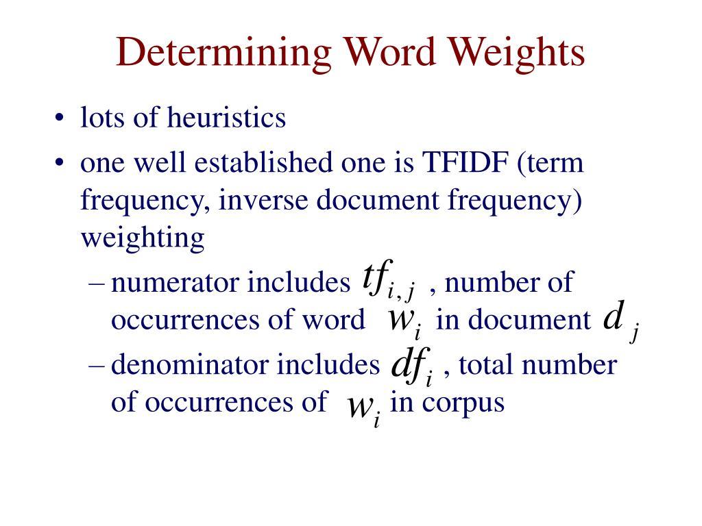 Determining Word Weights
