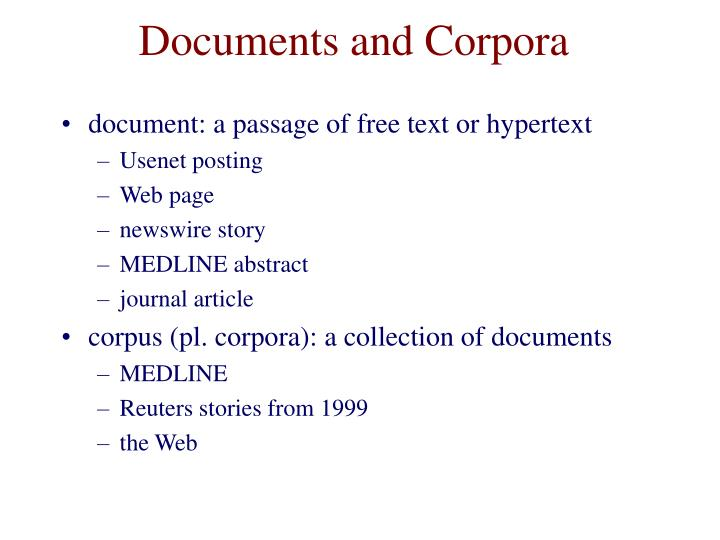 Documents and corpora