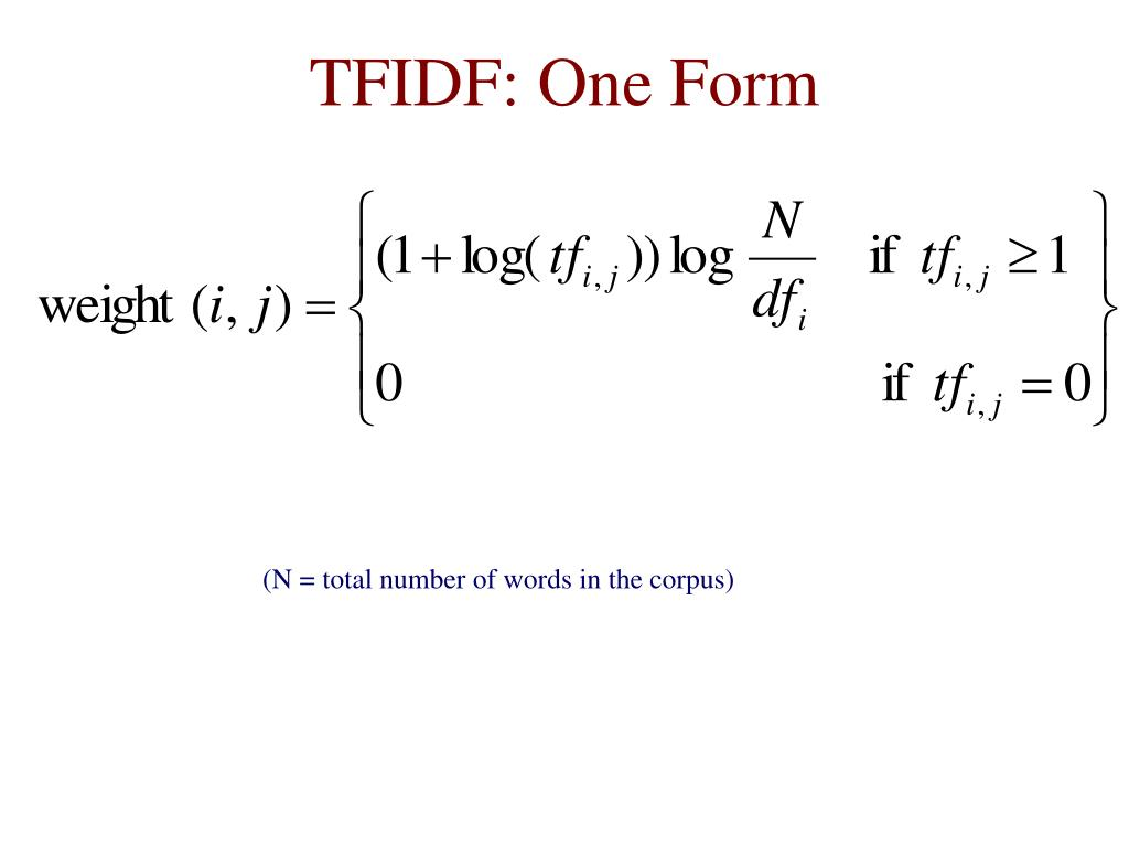 TFIDF: One Form