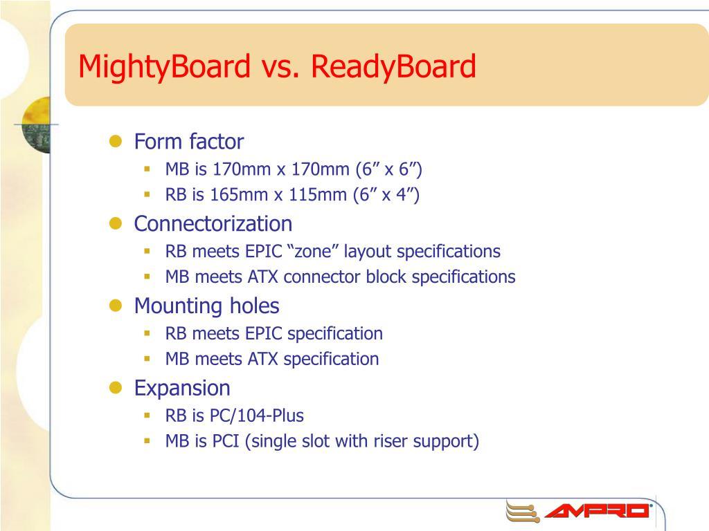MightyBoard vs. ReadyBoard
