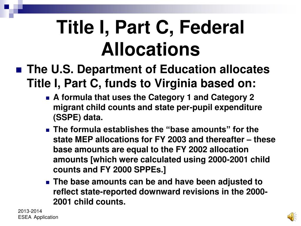 Title I, Part C, Federal Allocations