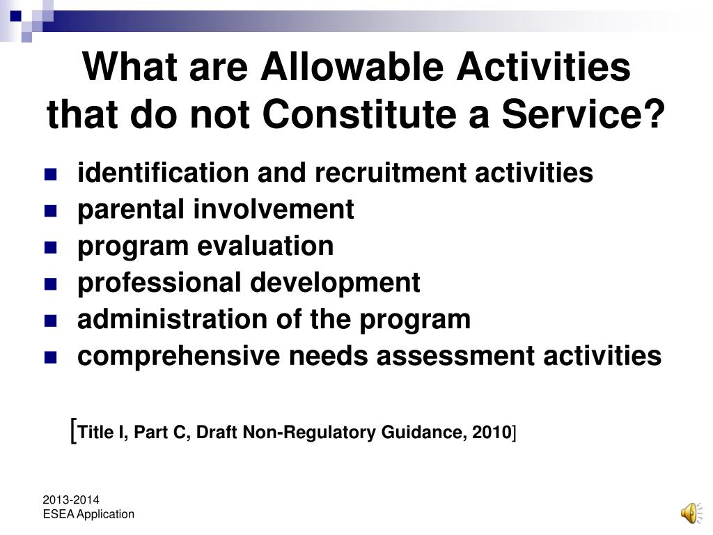 What are Allowable Activities that do not Constitute a Service?