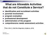 what are allowable activities that do not constitute a service