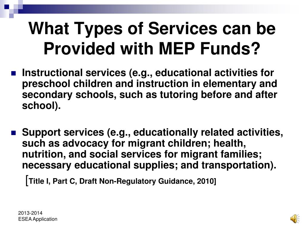 What Types of Services can be Provided with MEP Funds?
