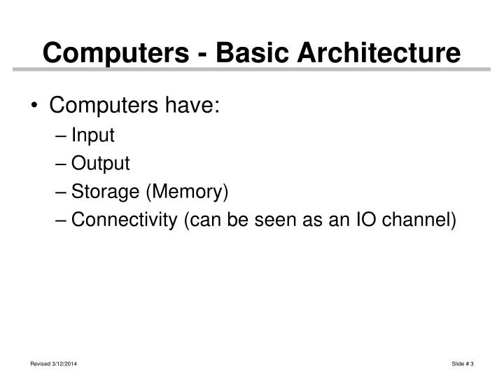 Computers basic architecture