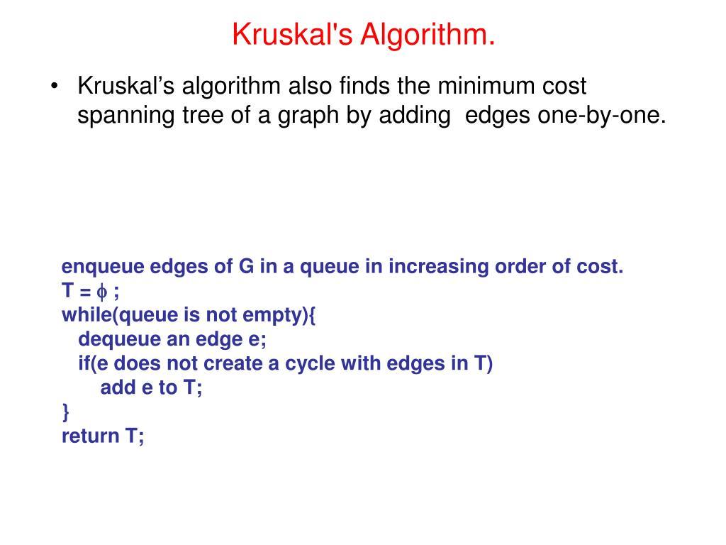 Kruskal's Algorithm.