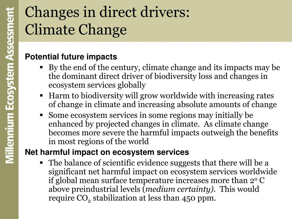 Changes in direct drivers: