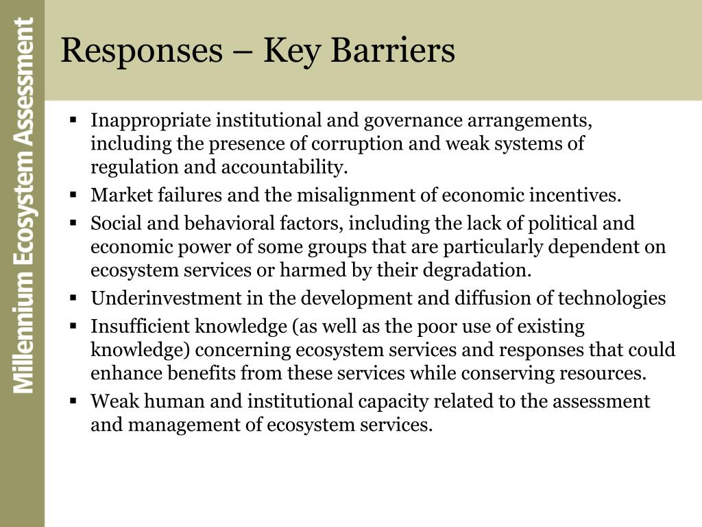 Responses – Key Barriers