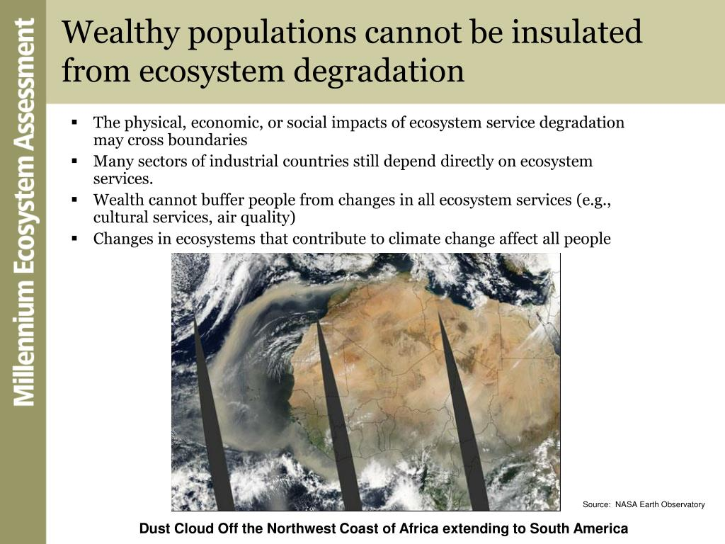 Wealthy populations cannot be insulated from ecosystem degradation