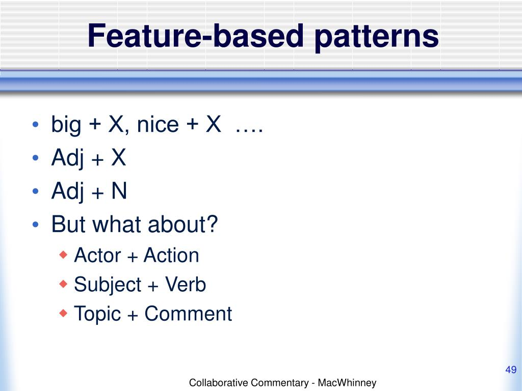 Feature-based patterns