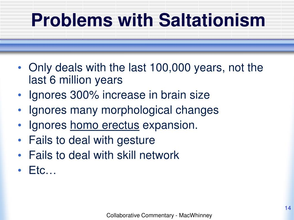 Problems with Saltationism