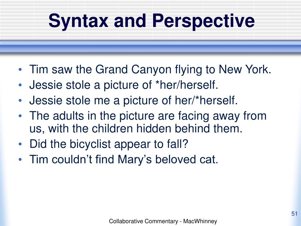 Syntax and Perspective