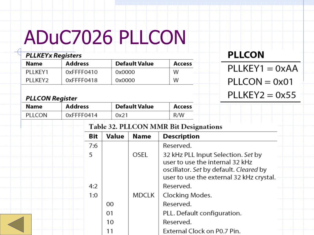 ADuC7026 PLLCON