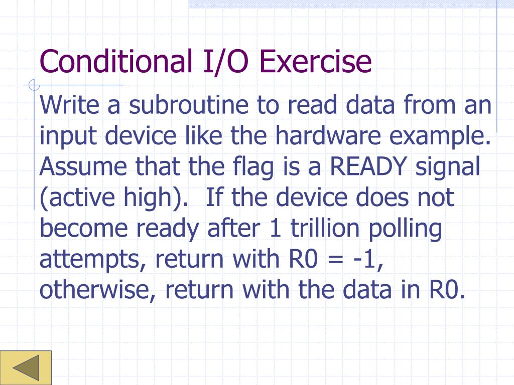 Conditional I/O Exercise