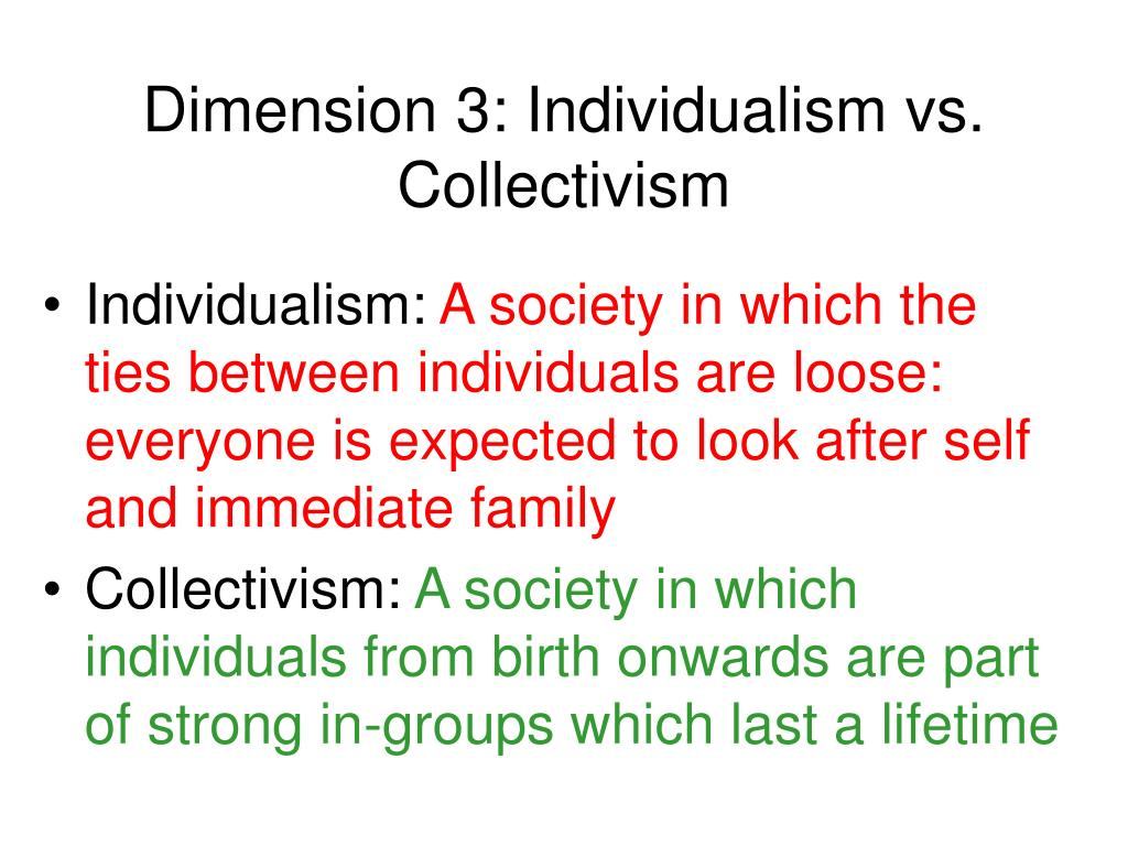 individualism or collectivism in society essay Individualism is the moral stance, political philosophy, ideology, or social outlook  that  individualism is often defined in contrast to totalitarianism, collectivism, and  more corporate social forms  surroundings, and his essay, civil disobedience,  an argument for individual resistance to civil government in moral opposition to.