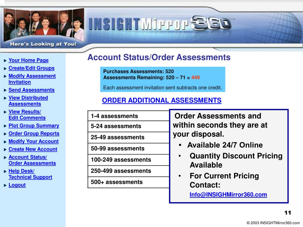 Account Status/Order Assessments