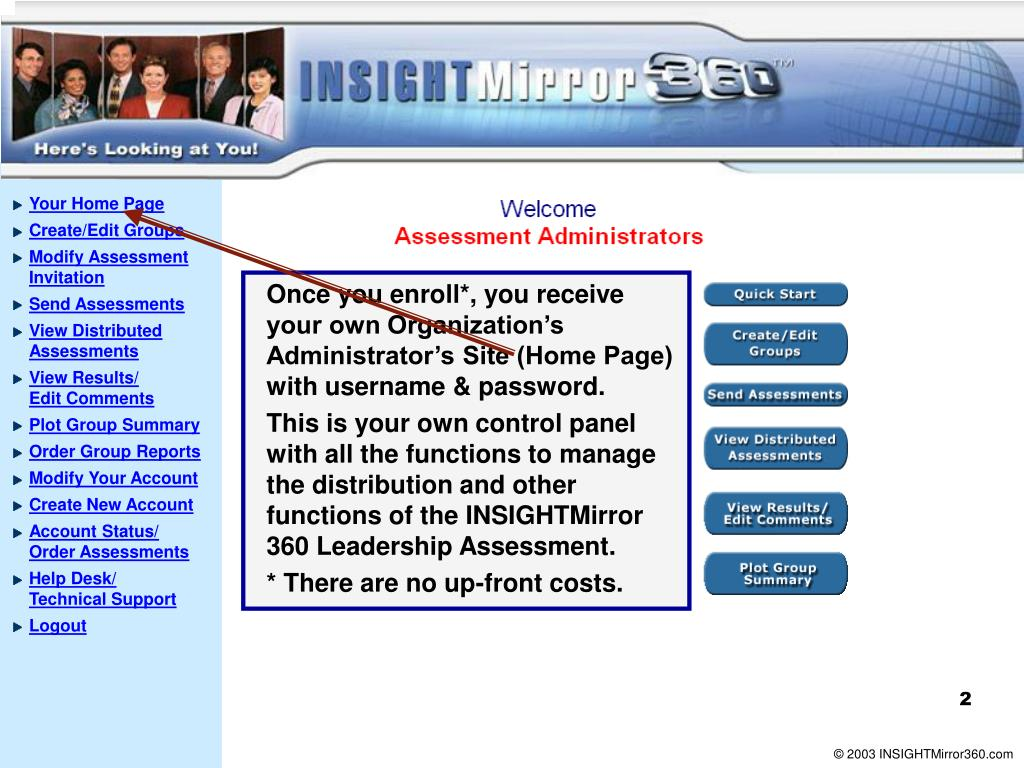 Once you enroll*, you receive your own Organization's Administrator's Site (Home Page) with username & password.