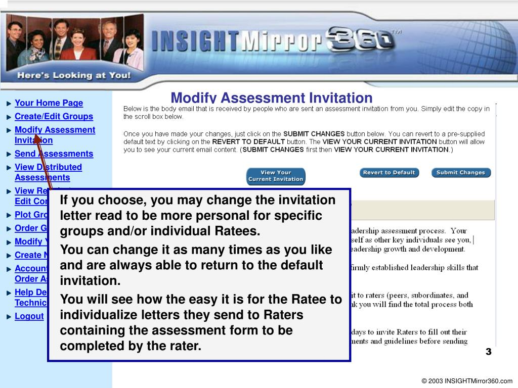 Modify Assessment Invitation