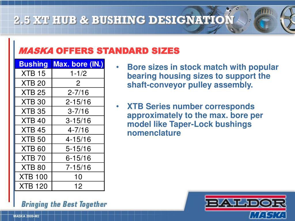 2.5 XT HUB & BUSHING DESIGNATION
