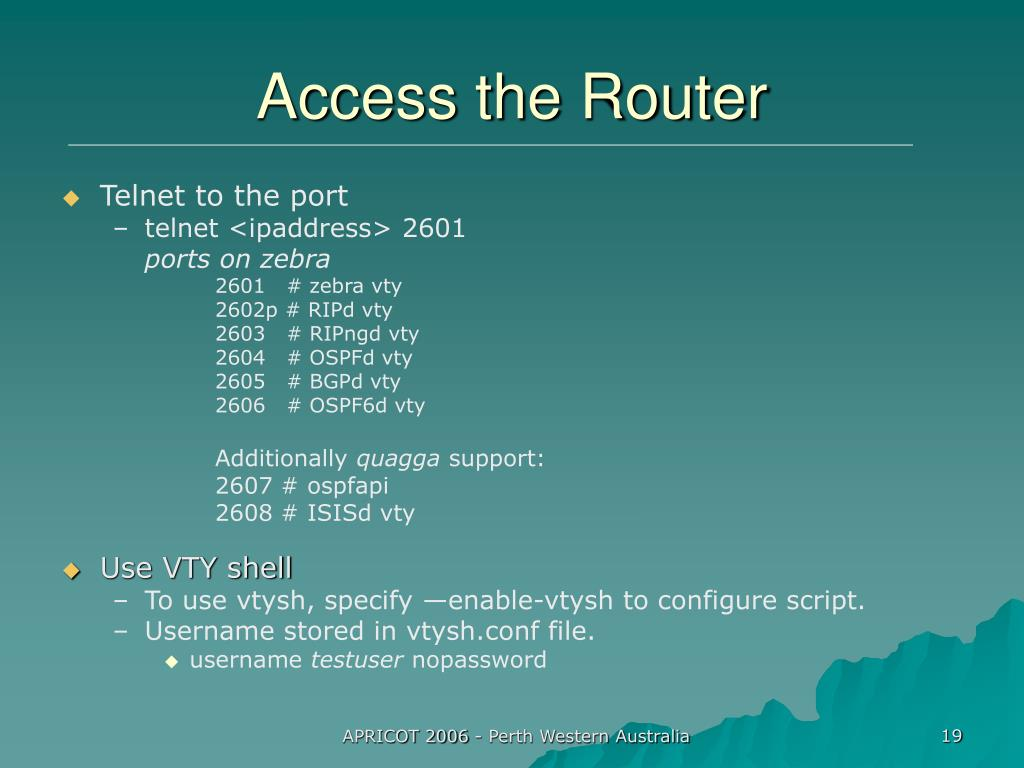 Access the Router