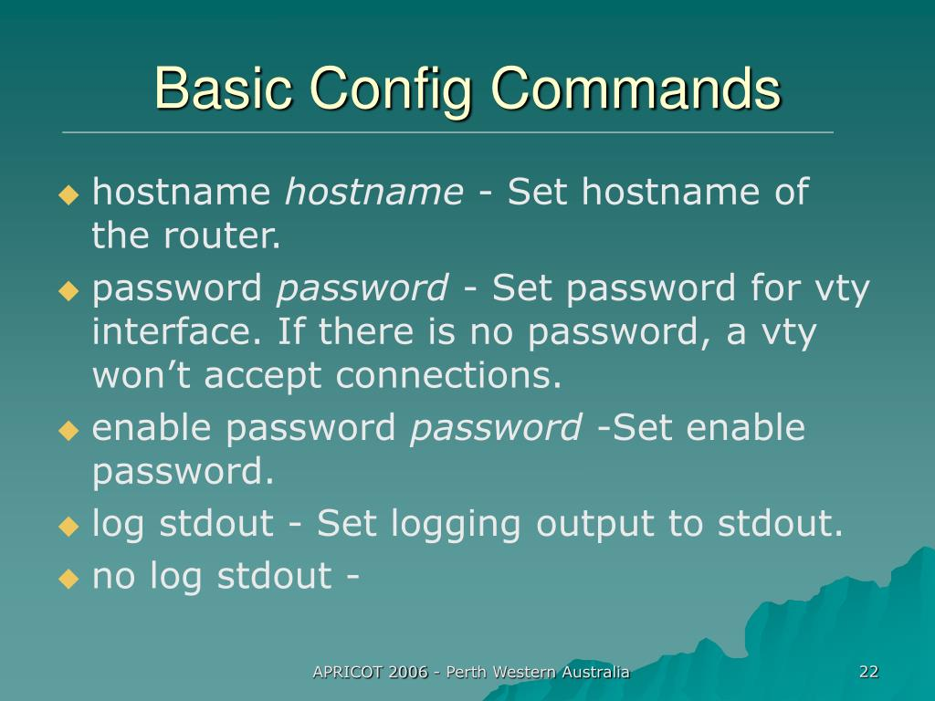 Basic Config Commands