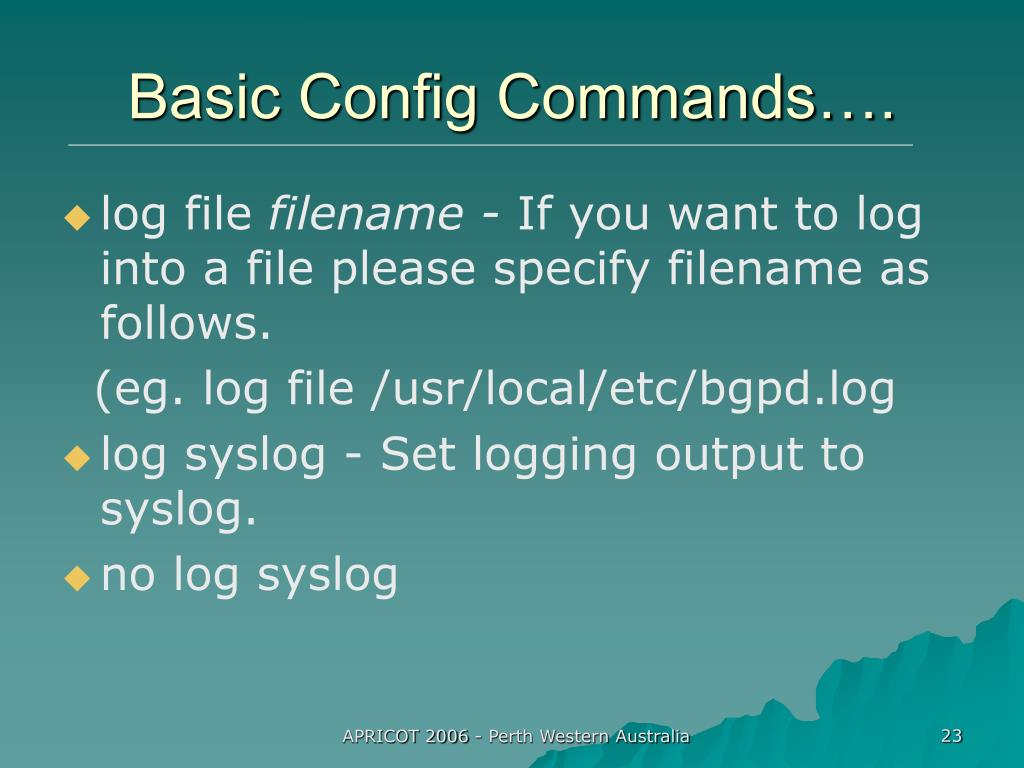 Basic Config Commands….