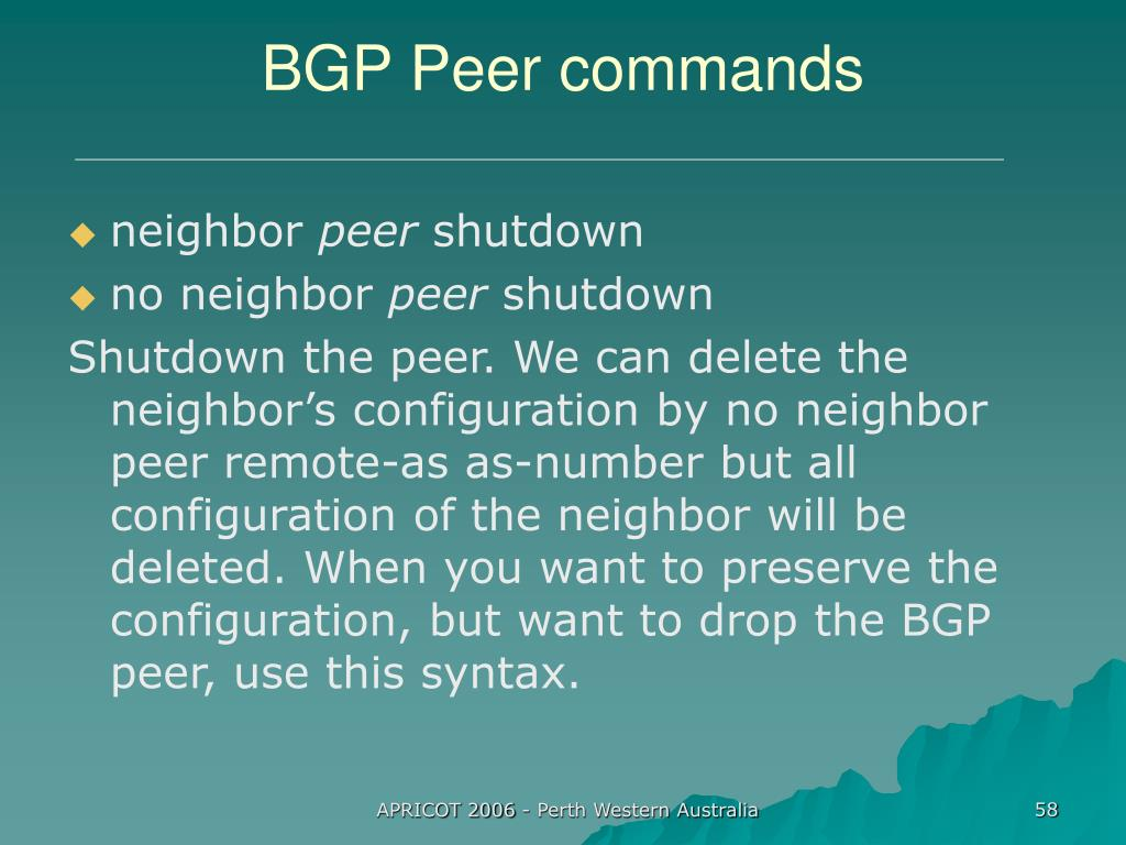 BGP Peer commands