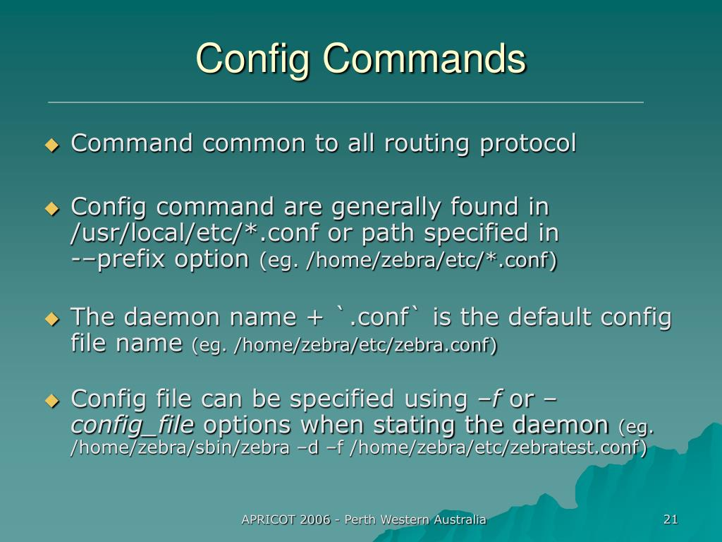 Config Commands