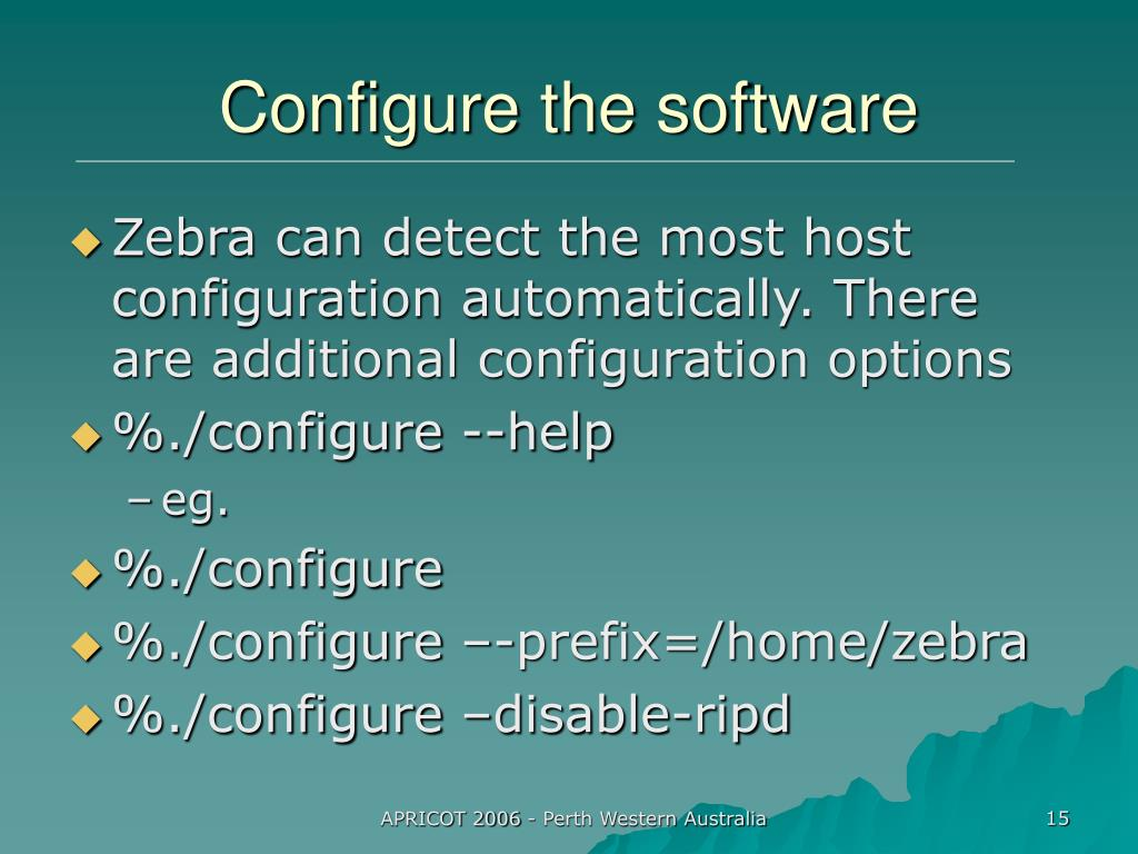 Configure the software
