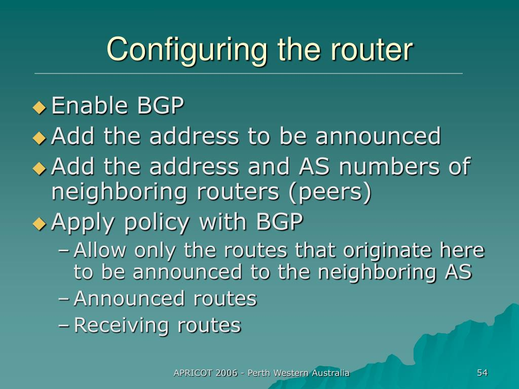 Configuring the router
